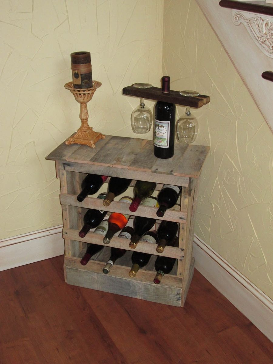 Hand made pallet wood 12 bottle wine rack floor or counter for Floor wine rack