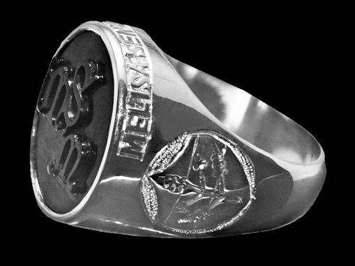 Custom Made Monogram Hand Carved Personalized Mans Ring