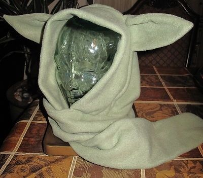 Custom Made Yoda Green Fleece Winter Warm Ski Ear Scarf Hoodie Hat In 6 Sizes