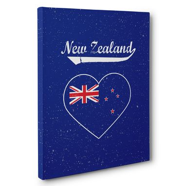 Custom Made Retro New Zealand Heart Canvas Wall Art