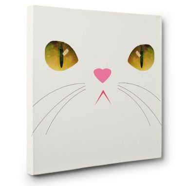 Custom Made Cute Green Eyed Cat Canvas Wall Art