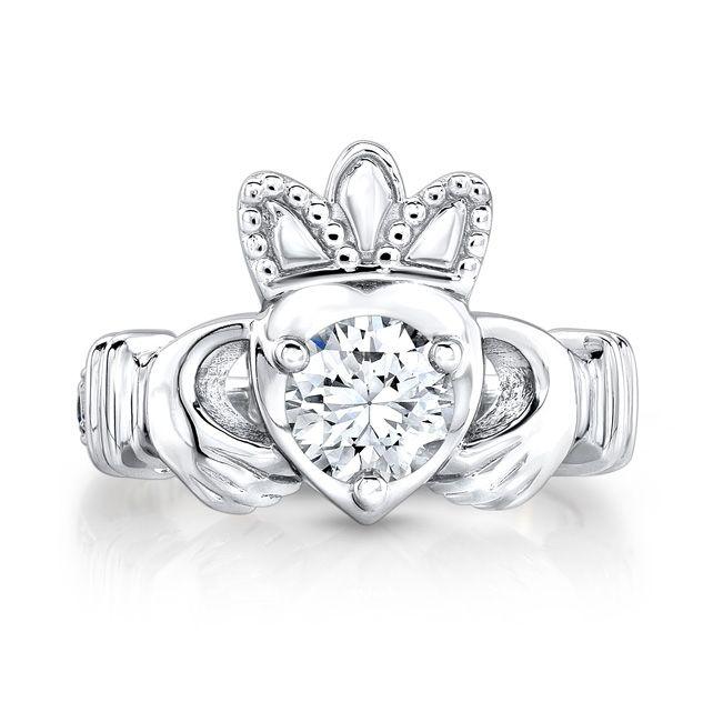 buy a custom irish claddagh ring w diamond and blue. Black Bedroom Furniture Sets. Home Design Ideas
