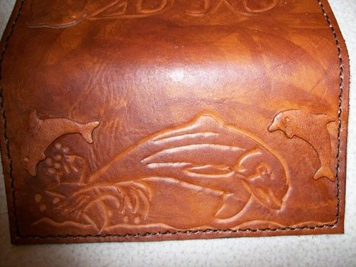 Custom Made Custom Leather Checkbook Cover With Dolphin Design And In Weathered Color