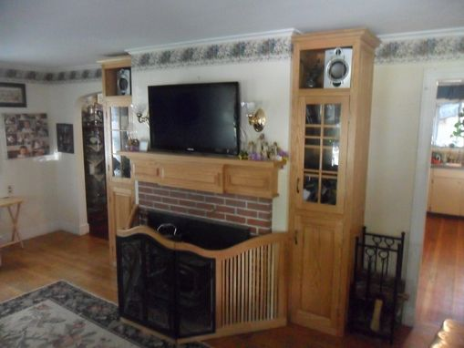 Custom Made Built In Oak Cabinets W/ Mantlepiece.