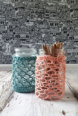 Custom Made Lace Crochet Covered Jars & Tins