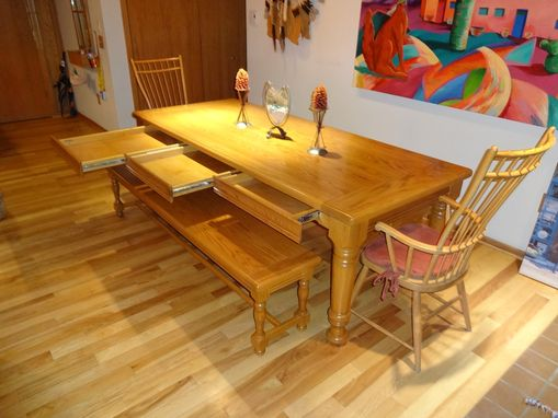 Custom Made Dining Table With Benches
