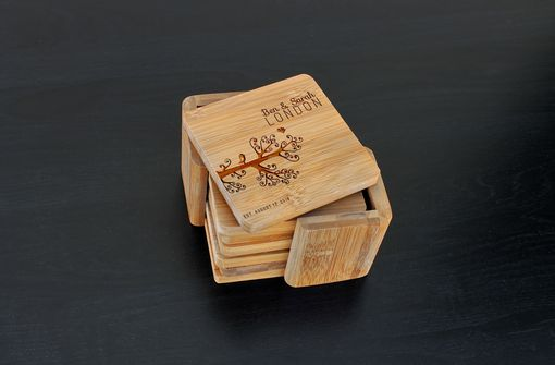 Custom Made Custom Bamboo Coasters, Custom Engraved Coasters --Cst-Bam-Ben Sarah London