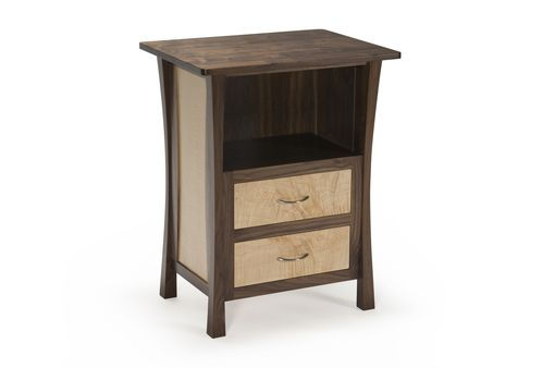 Custom Made Walnut Nightstand With Two Drawers, Laptop Space, Maple Inset Panels, Curved Inlays