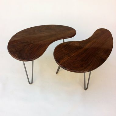 Custom Made Mid Century Modern Kidney Bean Side Tables - Pair Of 28 Inch
