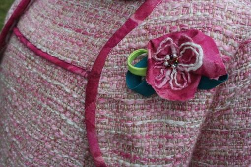 Custom Made Flowered Pink Tweed Tent Girls Dress With Bolero Jacket-Size 6
