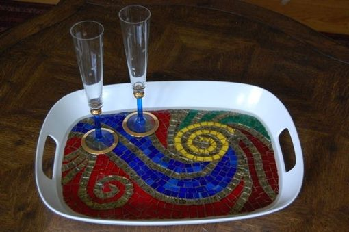 "Custom Made Mosaic Serving Tray ""Spirals"""
