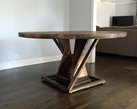 Custom Made Round Reclaimed Wood Dining Table