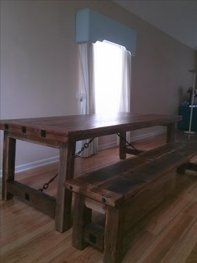 Custom Made Bench Wright Reclaimed Redwood Table And Bench