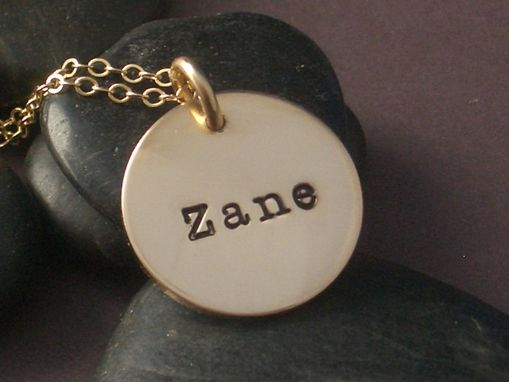 Custom Made Name Necklace In Hand-Stamped Gold