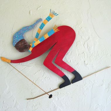 Custom Made Handmade Upcycled Metal Skier Wall Art Sculpture In Red
