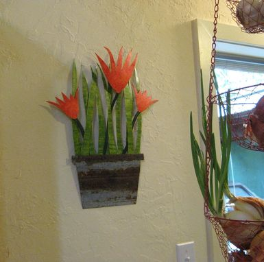 Custom Made Handmade Upcycled Metal Tropical Flowerpot Wall Art Sculpture In Red Orange