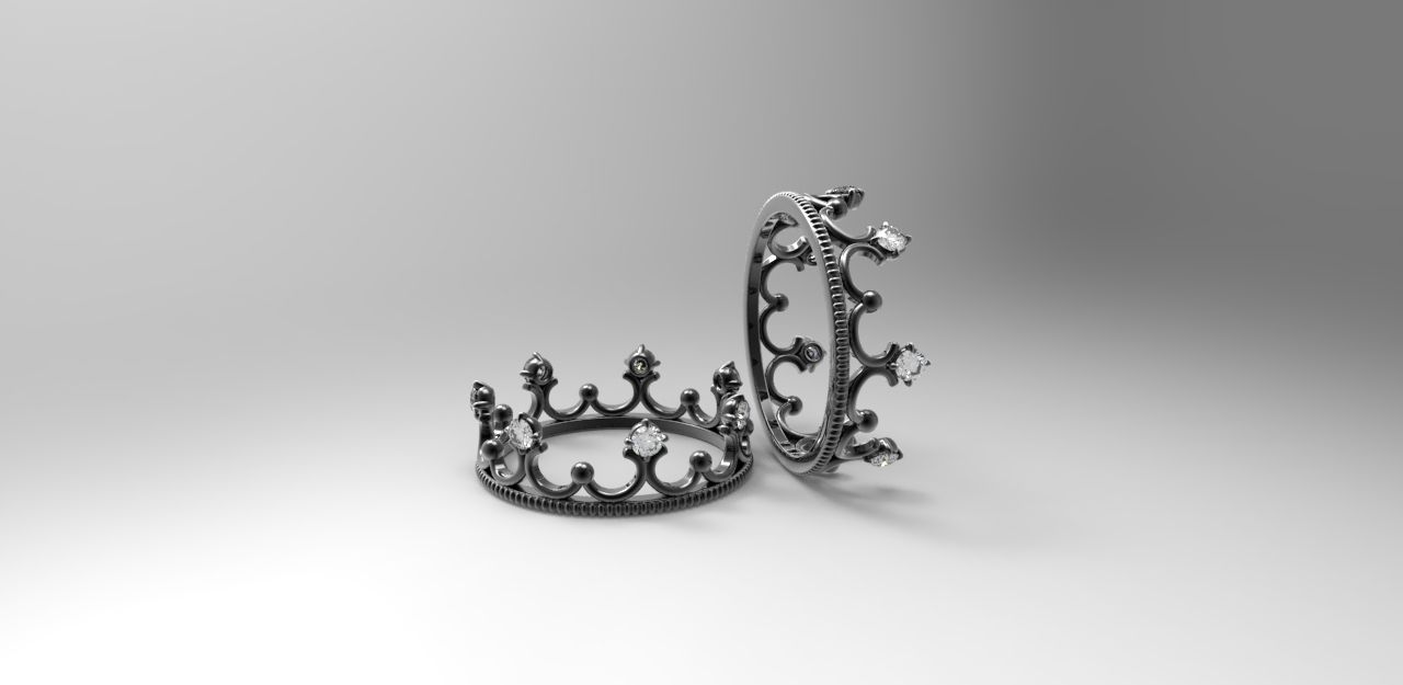 Buy Hand Crafted 14k Black Gold Crown Ring With Diamonds, made to ...