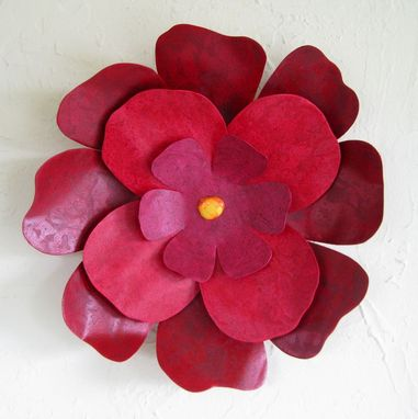 Custom Made Handmade Upcycled Metal Hibiscus Flower Wall Art In Dark Red And Pink