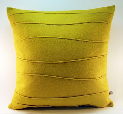 Custom Made Mustard Yellow Wool Felt Pillow - Ribbed And Pin Tucked Handmade Modern Pillow