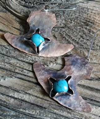 Custom Made Hand-Cut Copper Earrings With Turquoise Stones