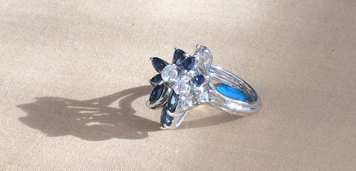Custom Made 2.40 Ct. Sapphire & 0.70 Ct. Diamond Hand Made Cocktail Ring - 18k White Gold
