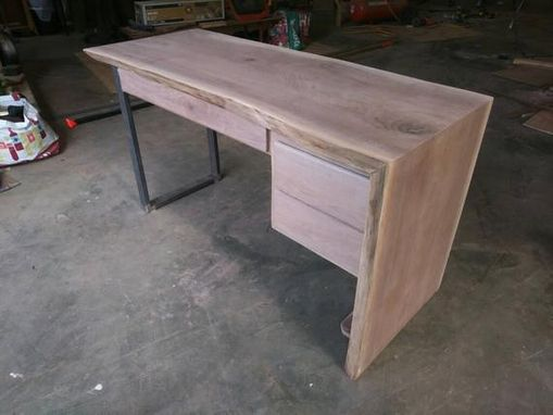 Custom Made Live Edge Walnut Slab Desk With Waterfall Leg + Metal Leg