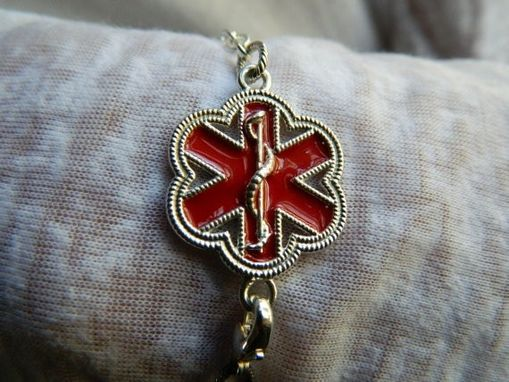 Custom Made Flower Shape Red Enamel Vital Voice Jewelry Med Id Bracelet Made In Sterling Silver And Enamel.