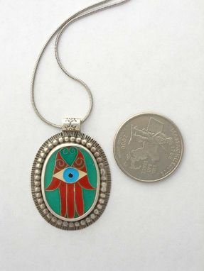Custom Made Cloisonne Enamel Hamsa Necklace, Hand Of Fatima, Hand Of God, Evil Eye Necklace
