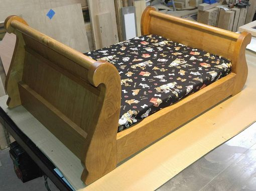 Custom Made Solid Cherry Sleigh Bed W Memory Foam Mattress
