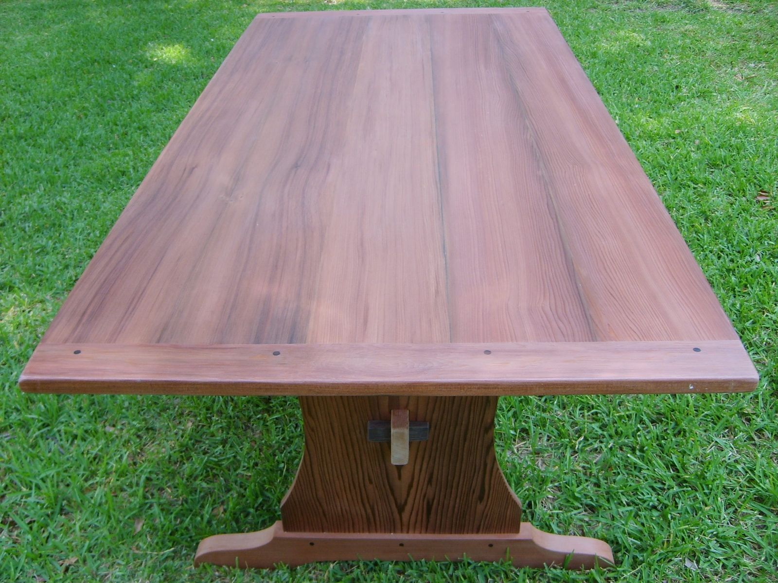 Hand Crafted Reclaimed Redwood Trestle Table By Norm's