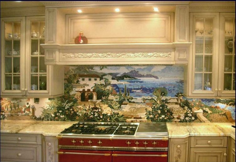 Custom kitchen mural backsplash mosaics by vita nova for Backsplash tile mural
