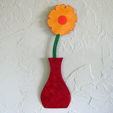 Custom Made Handmade Upcycled Metal Mini Flower Vase Wall Art Sculpture In Red And Yellow