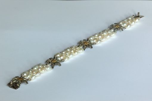 Custom Made Hand Woven Sterling Silver Golden Flower Pearl Bracelet. Perfect For Bridal Jewelry