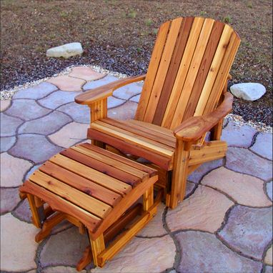 Custom Made Western Red Cedar Wide Adirondack Glider With Gliding Footstool