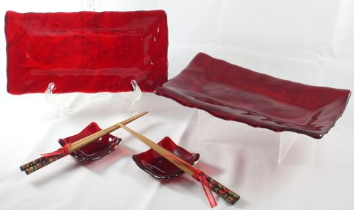 Custom Made Red Koi Glass Sushi Set For Two