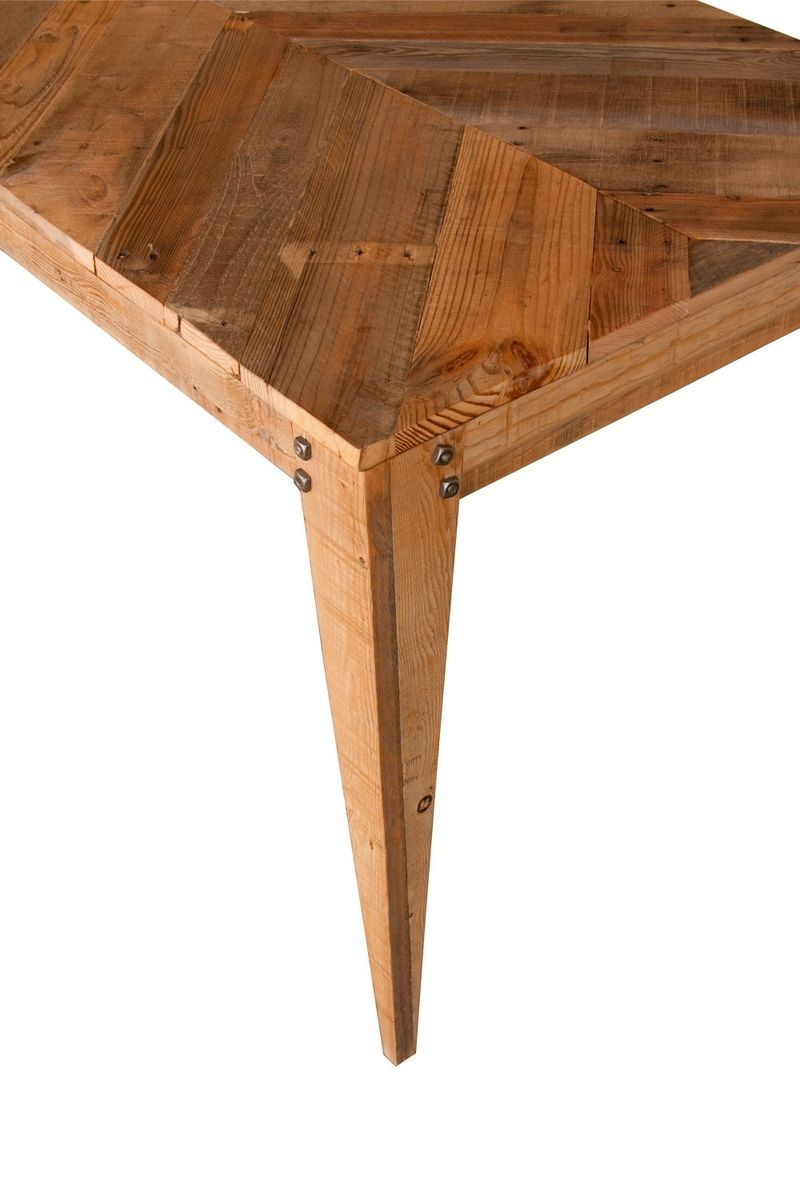 Dining Wood Table: Hand Made Wood Dining Table (Chevron Style) Crafted From