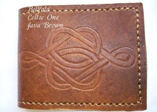 Custom Made Custom Leather Deluxe Wallet With Celtic 1 Design In Java Brown