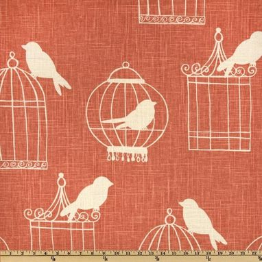 "Custom Made Custom Designer Draperies: Duralee Birdcage On Melon Linen 96""L X 50""W"