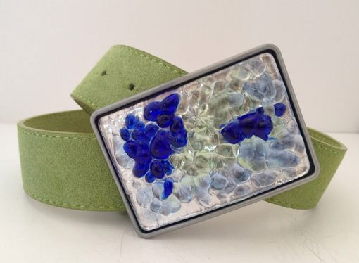Custom Made Silver, Green And Blue Fused Glass Belt Buckle