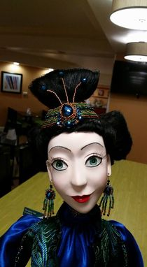Custom Made Ooak Art Doll Lady Peacock 32,5 Inches Paperclay, Silk, Jaquard, Embroidery