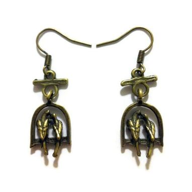 Custom Made Bronze Lovebird Earrings