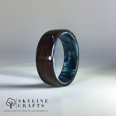 Custom Made Ebony Bentwood Ring With Resin Interior. Handcrafted Wood Ring To Your Specifications