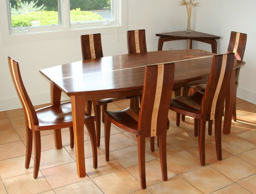 "Custom Made Modern Wood Dining Table, Solid Mahogany, Boat Shape, Oval, ""Beetleback"""