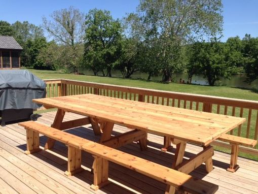 Custom Made Cedar Table With Benches