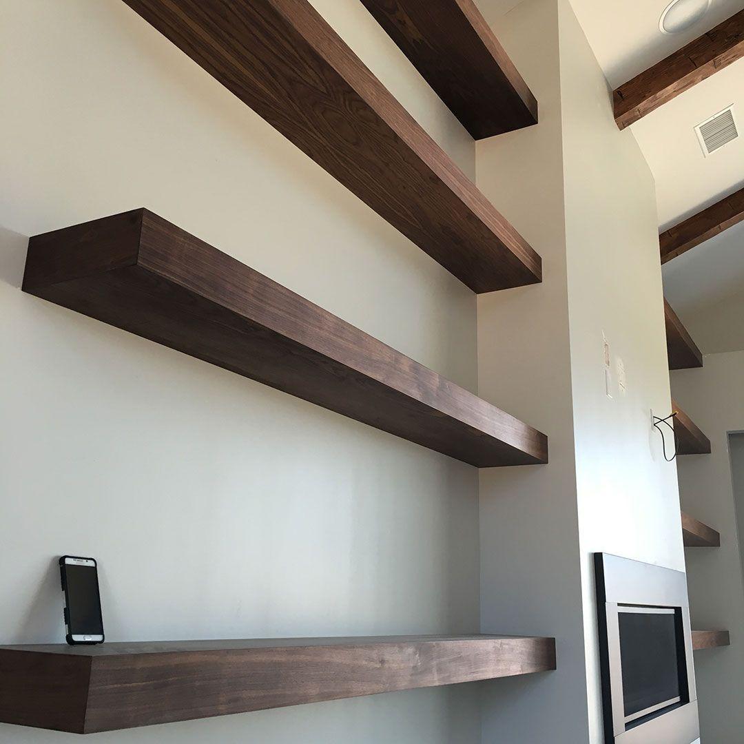 Custom Made Floating Shelves -- Walnut Plywood
