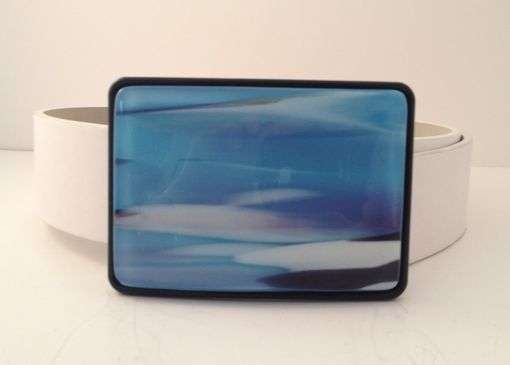 Custom Made Blue White And A Little Pink Fused Glass Belt Buckle