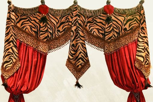 Custom Made High Style Window Treatments, Royal Red,  Tiger And Cheetah