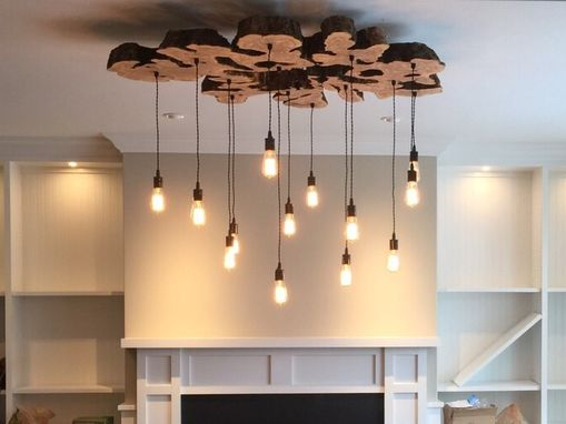 Custom Made Extra Large Live-Edge Olive Wood Chandelier. Rustic And Industrial Light Fixture