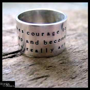 Custom Made Custom Hand Stamped Wide Ring Quote, Poetry, Names