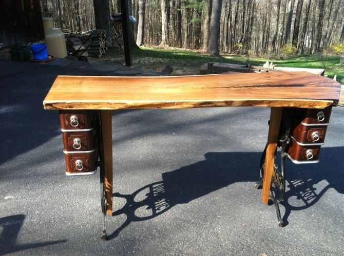 Custom Made Live Edge Butternut Desk With Antique Sewing Machine Legs  Natural Edge - Custom Live Edge Butternut Desk With Antique Sewing Machine Legs